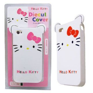 Hello Kitty Ear up Soft Silicone Case Cover with Screen Protector iPhone 4 Black in Retail Box Cell Phones & Accessories