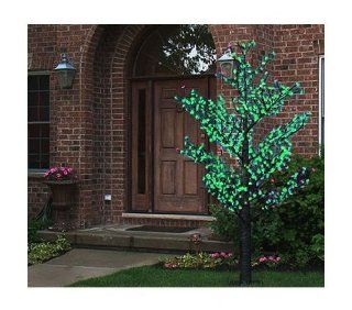 8.5' Pre Lit LED Outdoor Christmas Tree Decoration   Green Flower Lights
