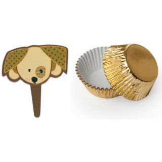 Dress My Cupcake CM 831SET STD FOIL GOLD Standard Gold Foil Liners/Brown Baby Shower Puppy Dog Face Pick Topper, Case of 144 Kitchen & Dining