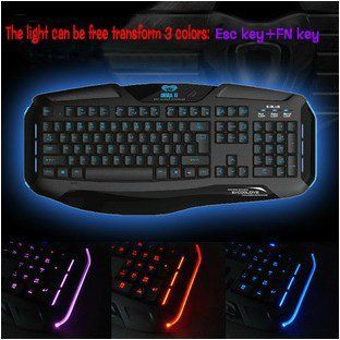 FOM E 3lue E Blue Cobra II Adjustable Backlight LED Gaming USB Wired Keyboard  EKM705BKC E Computers & Accessories