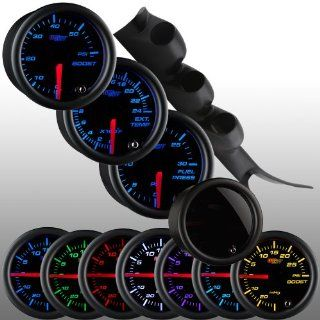 GlowShift 00 06 Chevy Duramax Diesel Gauge Package w/ Tinted 7 Color 60 PSI Boost, 2400 EGT & 30 PSI Fuel Pressure Gauges Automotive