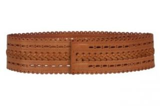 "2 7/8"" (72mm) Wide High Waist Perforated Braided Leather Belt Size L   36"" Color Tan"
