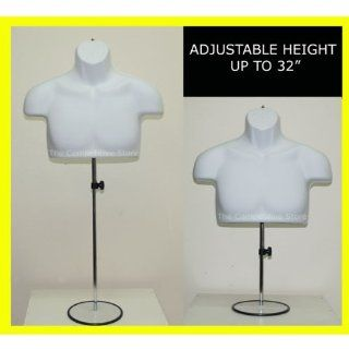 "Torso Male W/Metal Base Body Mannequin Form 19"" To 38"" Height For S M Sizes   White"