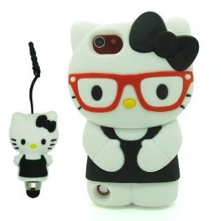 DD Black 3D Cartoon Cute Super Adorable Hello Kitty with Glasses Soft Silicone Case Skin Protective Cover for Apple iPod Touch iTouch 5 5G 5th Generation with 3D Silicone Hello Kitty Stylus Touch Pen   Players & Accessories