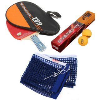 "Table Tennis Set 729 Table Tennis Racket Ping Pong Paddle Bat Handle With Waterproof Case Bag Pouch + 6x Pro DHS 3 Stars Ping Pong Ball 40mm Yellow + 178x15.5cm 70x6.1"" Table Tennis Net Sports & Outdoors"
