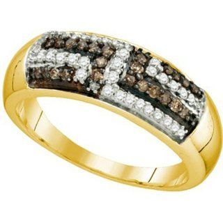 0.40 Carat (ctw) 18k Yellow Gold Plated Sterling Silver White & Brown Diamond Ladies Wedding Band Jewelry