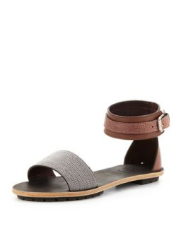 Womens Beaded Ankle Wrap Sandal, Brown   Brunello Cucinelli