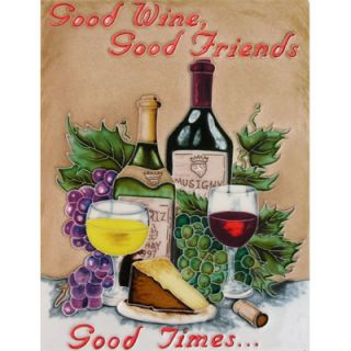 EnVogue 14 x 11 Good Wine, Good Friends, Good Times Art Tile in