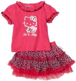 Hello Kitty Baby girls Infant Leopard Skirt Set, Dark Pink, 18 Months Infant And Toddler Clothing Sets Clothing