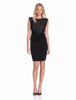 Jax Women's Jersey and Mesh Sheath Dress, Black, 12