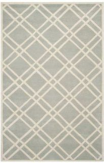 Safavieh CHT740E Chatham Collection Wool Handmade Area Rug, 6 Feet by 9 Feet, Grey and Ivory