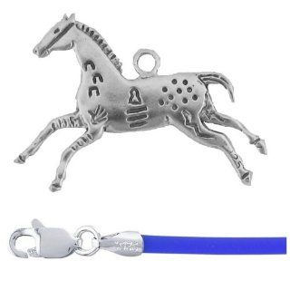 "Gift Boxed Hands High Pendant with 18"" Blue Cord Sterling Silver Horse Jewelry Set"