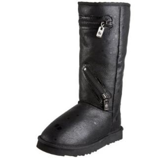 Australia Luxe Collective Women's Biker Short Sheepskin Boot With Zipper Detail,Black Moon Matching,5 M US Shoes