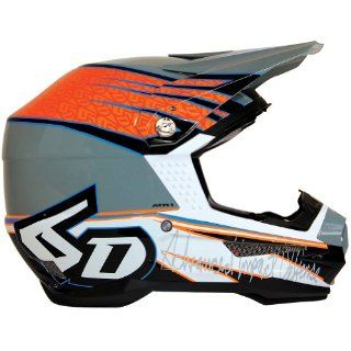6D Intruder Graphic Men's ATR 1 A6 MotoX/Off Road/Dirt Bike Motorcycle Helmet   Orange/Black Gloss/ Medium Automotive