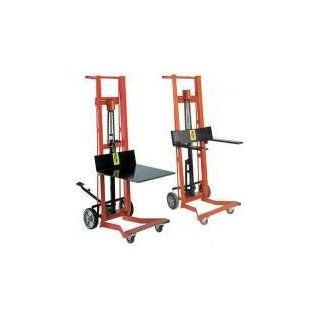 "Wesco 260010 Steel Frame 4 Wheeled Hydraulic Pedalift, 750 lbs Capacity, 54"" Height, 22"" Length x 30"" Width Hand Trucks"