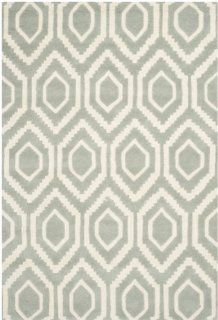 Safavieh CHT731E Chatham Collection Area Rug, 4 Feet by 6 Feet, Grey and Ivory   Cotton Area Rug