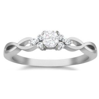 0.43 Carat Round Diamond Engagement Ring Bridal Set Wedding Ring on 10k White Gold FineTresor Jewelry