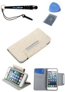 IMAGITOUCH(TM) 4 Item Combo APPLE iPod touch (5th generation) Little Cute Angel White Book Style Wallet Case with Credit Card Slot (with card slot) (763) (Stylus pen, ESD Shield bag, Pry Tool, Phone Cover) Cell Phones & Accessories