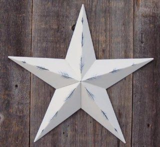 53 Inch Heavy Duty Metal Barn Star Painted Rustic Ivory. The Rustic Paint Coverage Starts with a Black or Contrasting Base Coat and Then the Star Color Is Hand Painted on Top of the Base Coat with a Feathering Look Which Gives the Star a Distressed Appeara
