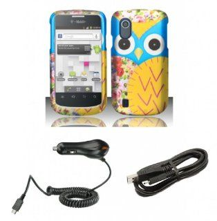 T Mobile ZTE Concord V768   Bundle Pack   Baby Blue and Yellow Owl Design Cover Case + Atom LED Keychain Light + Micro USB Cable + Car Charger Cell Phones & Accessories