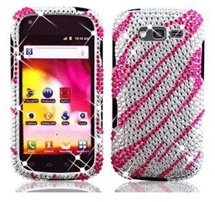 Samsung Galaxy Blaze 4G 4 G T769 T 769 Cell Phone Full Crystals Diamonds Bling Protective Case Cover Silver and Hot Pink Zebra Animal Skin Stripes Design Cell Phones & Accessories