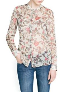 'Mango Women's Pleated Chiffon Floral Blouse, Off White, 4