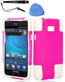 IMAGITOUCH(TM) 3 Item Combo Samsung i777Galaxy S II (AT&ampT) Mesh Case Hot Pink (Stylus pen, Pry Tool, Phone Cover) Cell Phones & Accessories