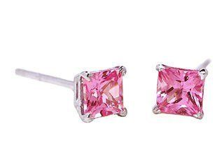 14k White Gold Natural Pink Sapphire Mini Stud Earrings Ct.tw 0.35 Jewelry