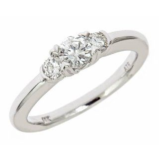 3 Three Round Prong Set Diamond Engagement Ring 14 K White Gold (1/2Cttw, SI Clarity, G Color) Jewelry