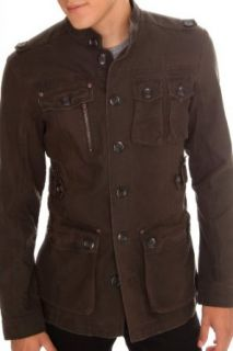 Signify Dark Olive Green Military Button Jacket Size  X Large at  Men�s Clothing store