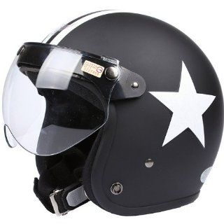 Flat Matte Black White Star Open Face Motorcycle Helmet Retro Vintage EVO Helmet Sports Street Bike Cruiser Scooter Snowmobile Helmet  Sports & Outdoors