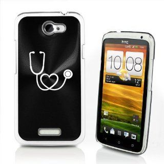 Black HTC One X AT&T Aluminum Plated Hard Back Case Cover P510 Stethoscope in Shape of Heart Nurse Doctor Cell Phones & Accessories