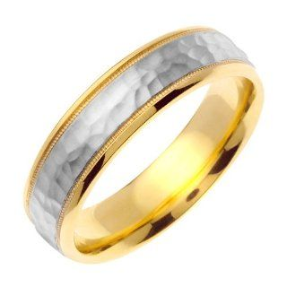 7mm Solid 14K White & Yellow Gold Two Tone Hammered Texture Milgrain Wedding Ring Band for Men (Sizes 9   14) JDBands Jewelry