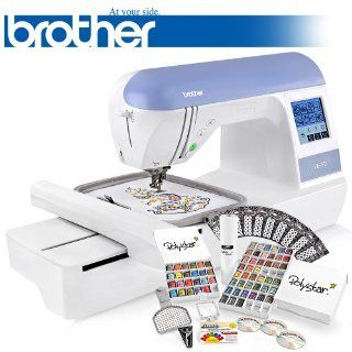 Brother PE770 (PE 770) Embroidery Machine w/ USB Flash Port and Grand Slam II Package Includes 65 Embroidery Threads with Snap Spools + Prewound Bobbins + Cap Hoop + Sock Hoop + Stabilizer + 15, 000 Embroidery Designs + Scissors ($1, 170 Value)