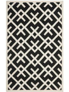Safavieh Dhurrie Collection DHU552L 8 Handmade Wool Area Rug, 3 by 5 Feet, Black/Ivory