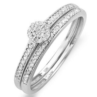 0.20 Carat (ctw) 10k White Gold Round Diamond Ladies Bridal Ring Engagement Matching Band Set 1/4 CT Jewelry