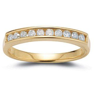 14k Yellow Gold Diamond Channel Set Ring (1/4 cttw, I J Color, I2 I3 Clarity), Size 7 Jewelry