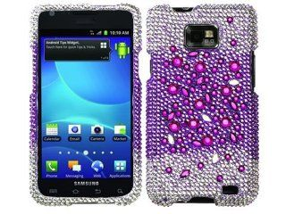 Purple Silver White Bling Rhinestone Diamond Crystal Hard Protector for Samsung Galaxy S II 2 Two Attain SGH i777 i9100 AT&T Cell Phones & Accessories