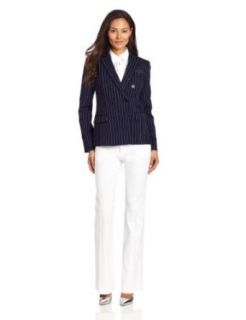 Anne Klein Women's Pinstripe Jacket, New Marine Multi, 10 Blazers And Sports Jackets