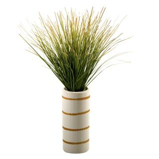 D and W Silks Green/Brown Onion Grass in Tall Ceramic Vase with Strips   Silk Plants