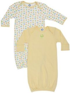 Gerber Unisex Baby  Frogs And Ducks 2 Pack Lap Shoulder Gown, Yellow/White, 0 6 Months Clothing