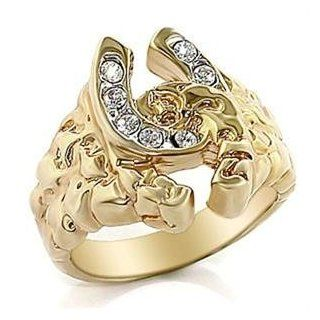 MENS RING   Two Tone Intertwined Horse Shoe CZ Ring Jewelry