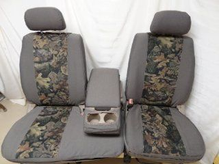 Exact Seat Covers, T787 D4/WD V, Custom Exact Fit Seat Covers Designed For 2000 2004 Toyota Tundra Front 40/60 Split Seats with Fold Down Console. Taupe Twill with Woodland Camo Velour Center Panels Automotive