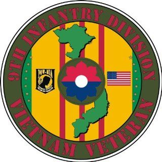 "United States Army 9th Infantry Division Vietnam Veteran Decal Sticker 3.8"" 6 Pack Automotive"