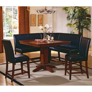 Steve Silver Plato 6 Piece Counter Height Nook Dining Table Set   Dining Table Sets