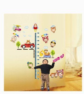 UfingoDecor Lovely Baby DIY Height Chart Decals(60 170cm), Cartoon Car Excavator Plane and Space Shuttle, Children's Room Nursery Removable Wall Stickers Murals   Wall Decor Stickers