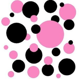 Set of 130 Light Pink and Black Polka Dots Wall Graphic Vinyl Lettering Decal Stickers Wall Decal   Wall Decor Stickers