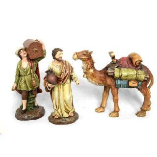 Nativity Scene Merchants and Camel Figurines   3 Piece Set   Pope John Paul II Medal Included   Individual Nativity Figurines