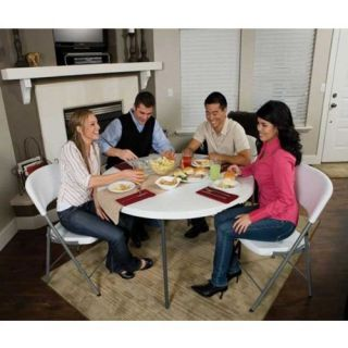 Lifetime 48 in. Round Fold in Half Folding Table and 4 Chair Set   Banquet Tables
