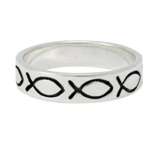 Christian Unisex Abstinence 0.925 Sterling Silver Jesus Ichthus Fish Ring   Purity Ring for Guys & Girls Jewelry